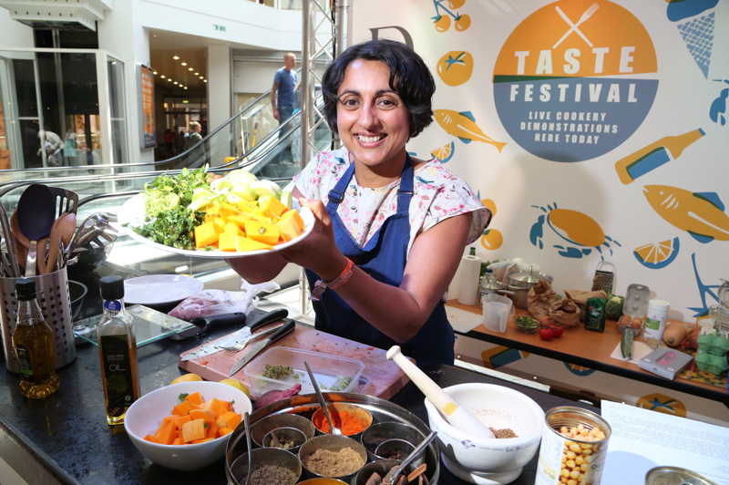Bini Ludlow demonstrates her authentic Indian curries at the Dolphin Shopping Centre's first Taste Festival.