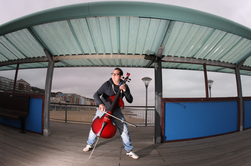 Cellist Nick Squires at Boscombe Pier.