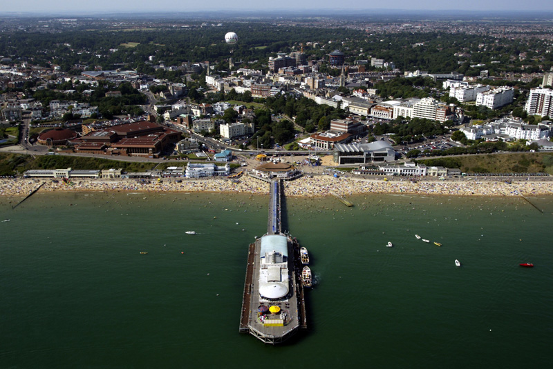 Airview48 pic by Richard Crease Aerial pix Bournemouth Pier , gardens , seafront , BIC, town centre taken from the air MUST CREDIT TAKEN WITH THE HELP OF BOURNEMOUTH HELICOPTERS