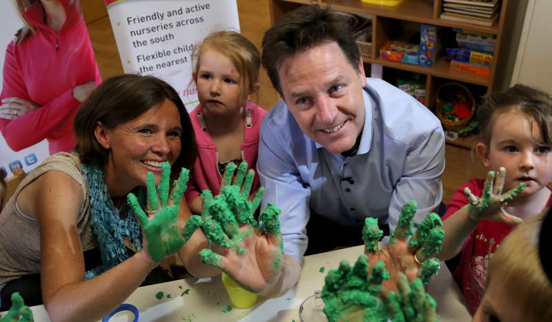 Lib Dem leader Nick Clegg gets his hands dirty whilst visiting a nursery during the 2015 election campaign.