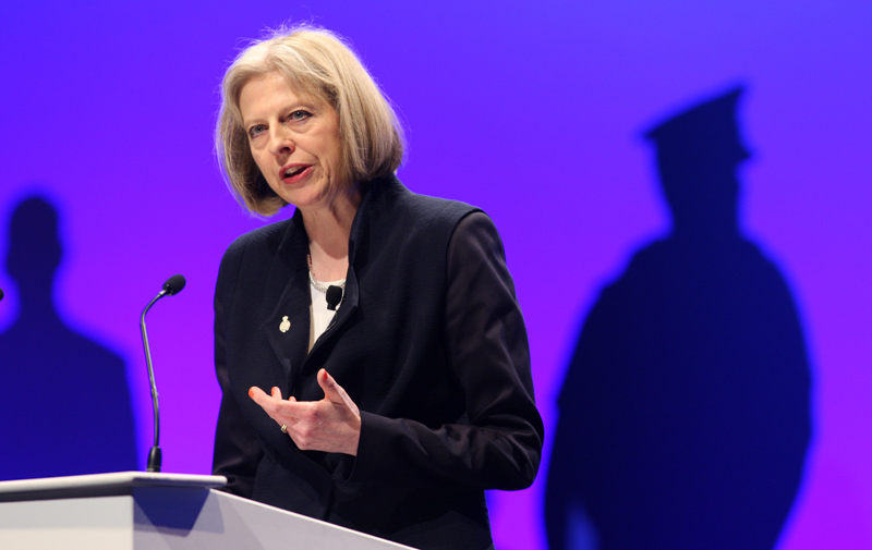 Home Secretary Theresa May addressing the Police Federation annual conference in 2013.