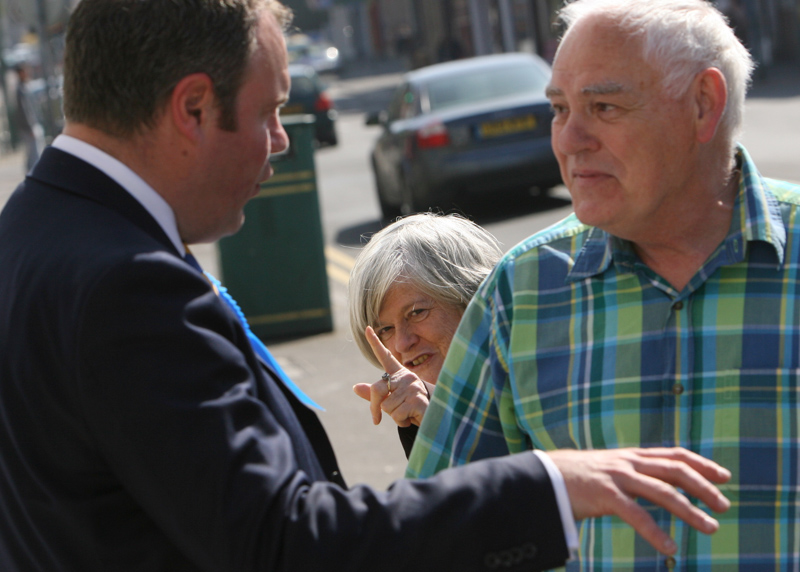 Ann Widdecombe canvassing support during the 2010 General election campaign.