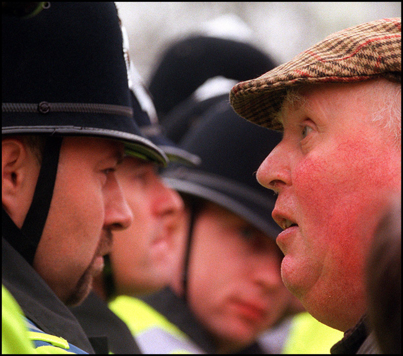 Facing off with the police during a NFU demonstration during the labour party conference in 1999.