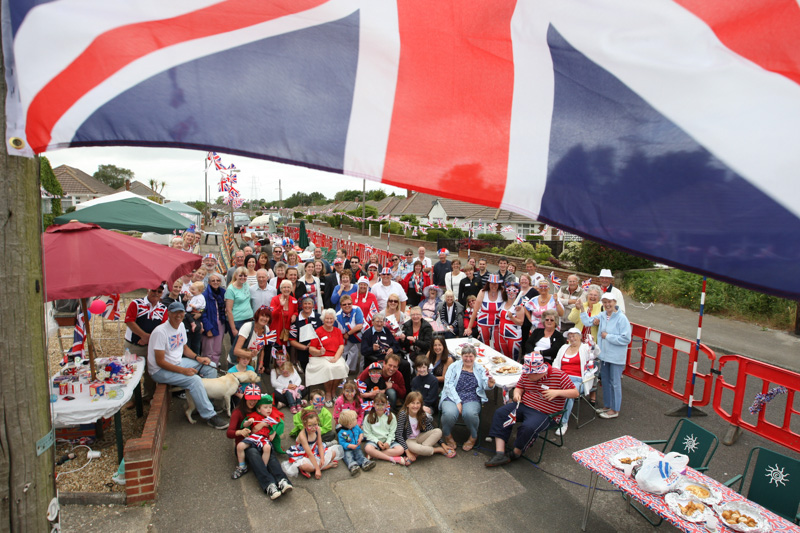 Residents of Bloxworth Road, Poole hold a street party to celebrate the Queen's Diamond Jubilee.