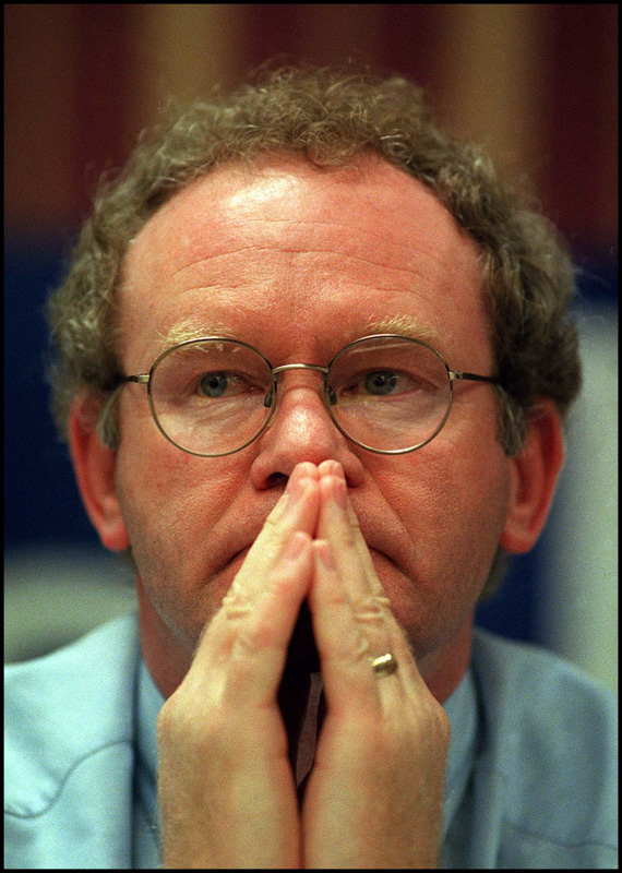 Sinn Fein negotiator Martin McGuiness prepares to talk at a Labour party conference fringe meeting on ' Implementing the Good Friday agreement' in 1999.