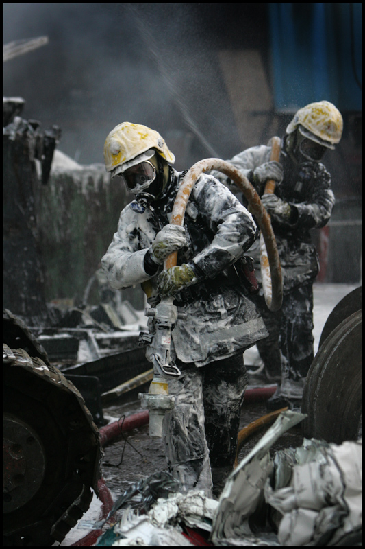 Dorset Fire and Rescue crews at the scene of a scrapyard fire in Ferndown.