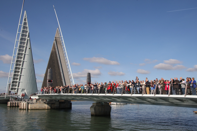 Poole residents get the first chance of walking on the new Twin Sails bridge in 2012.