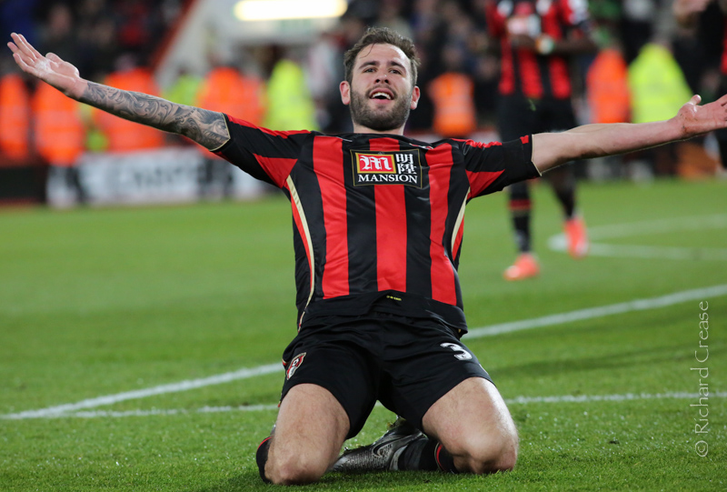 Steve Cook celebrates his goal for AFC Bournemouth against Southampton in The Premier League - March 2016.