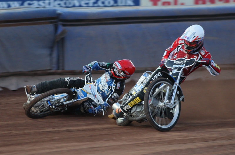 Poole Pirates speedway rider Bjarne Pedersen hits the shale at Wimborne Road.