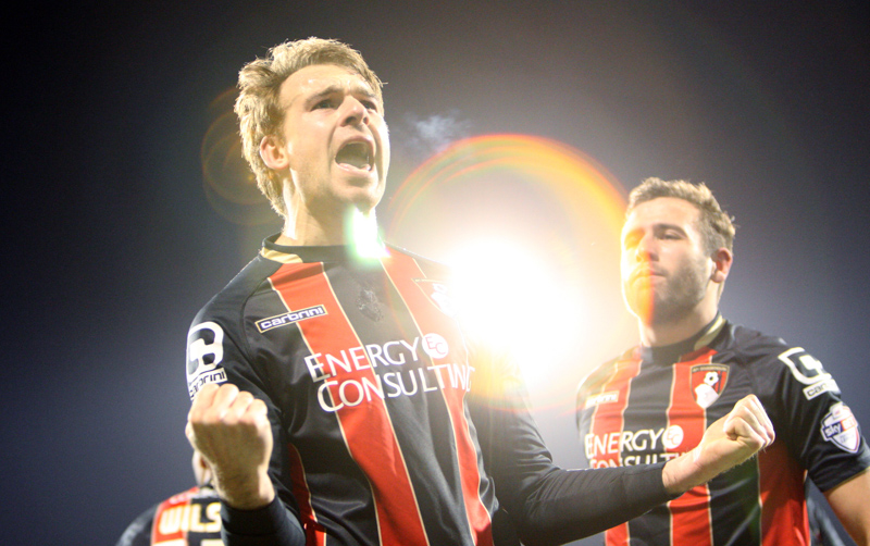 AFC Bournemouth's Brett Pitman celebrates a goal against Fulham at Craven Cottage