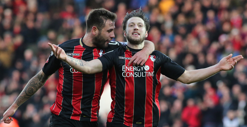 Steve Cook celebrates with Harry Arter - AFC Bournemouth v Cardiff City