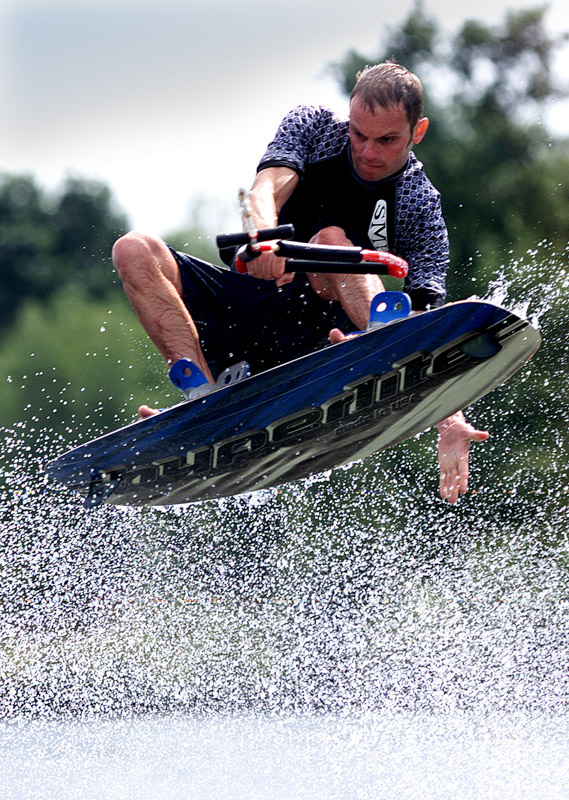 Noel Robins wake boarding at Ivy lake waterski club