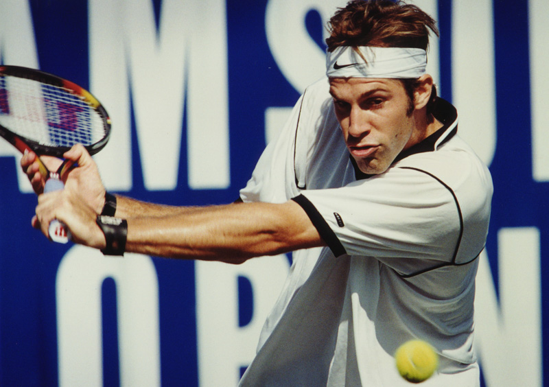 Greg Rusedski competing in Bournemouth